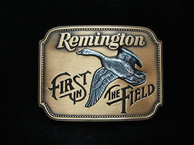Oa03115 *nos* Vintage 1980 **remington First In The Field** Gun & Hunting Buckle