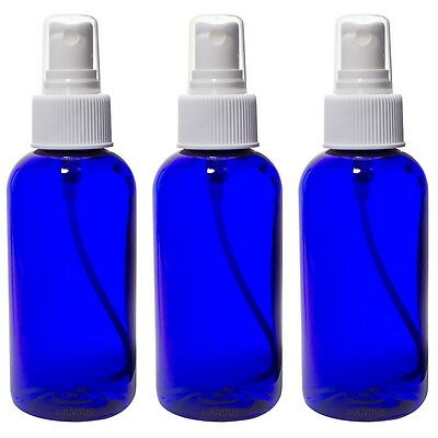 Cobalt Blue 4 oz Boston Round PET (BPA Free) White Fine Mist Sprayer +Labels