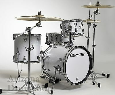 Ludwig Questlove Breakbeats 4pc White Silver Sparkle Drum Kit w/Bags(LC179X-028)