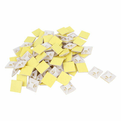 100pcs 25mm x 25mm Square White Plastic Self-Adhesive Fixing Wire Tie Mount Base
