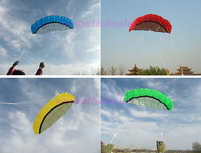 4 Color 2.5m Power Dual Line Parafoil Parachute Sports Beach Kite Easy to Fly WQ