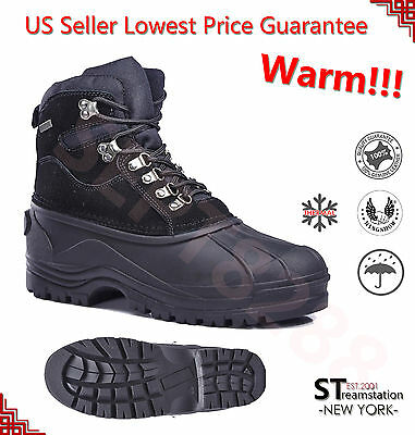 Men's Black Winter Insulated Snow Boots Shoes Leather Waterproof 1002 Black