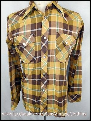Vintage 70s Brown & Green Plaid Poly/Cotton Milton Western Shirt Small Unworn