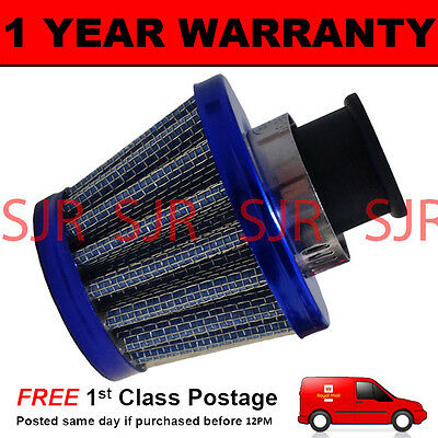 12mm AIR OIL CRANK CASE BREATHER FILTER MOTORCYCLE QUAD CAR BLUE CONE