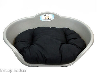 MEDIUM Plastic SILVER / GREY With BLACK Cushion Pet Bed Dog Cat Sleep Basket