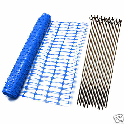 Blue Plastic Barrier Mesh Safety Event Fence Netting Net 5.5Kg & 10 Fencing Pins
