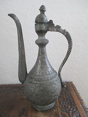 ANTIQUE ISLAMIC ARABIC PERSIAN TINNED COPPER ETCHED COFFEE/TEE POT PITCHER JUG