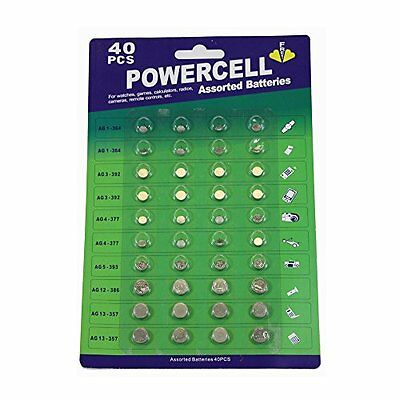 40 Pcs Power Button Cell Assorted Batteries Ag1/3 /4 /5 /12 /13,For Watch Games