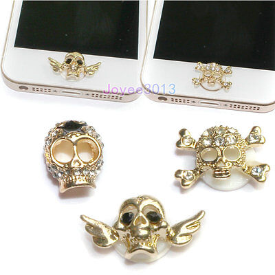 3pcs Cute Crystal 3D Skull Home Key Button Sticker For Apple iPhone 6 5 4 S iPad