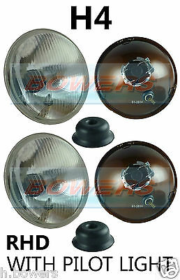 """7"""" Domed Lens Classic Car Sealed Beam Headlamps Headlights Halogen H4 Conversion"""