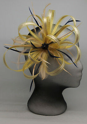efdaddd231 NEW GOLD   navy blue fascinator with bead cluster on comb