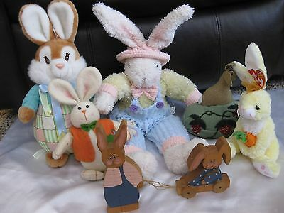 Lot of 6 Easter Bunny Plush Toys and Wooden Figure Spring Time!