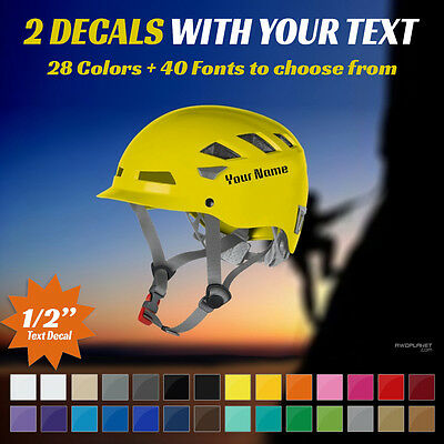 """Custom Rock Climbing Helmet Decal - 2 Stickers With Your Text - Two 1/2"""" Decals"""