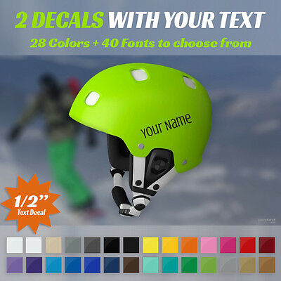 """Custom Snowboard Helmet Decal - 2 Stickers With Your Text - Two 1/2"""" Tall Decals"""