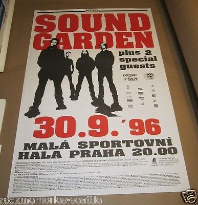 Soundgarden 1996 European Prague Concert Poster for Down on the Upside Tour