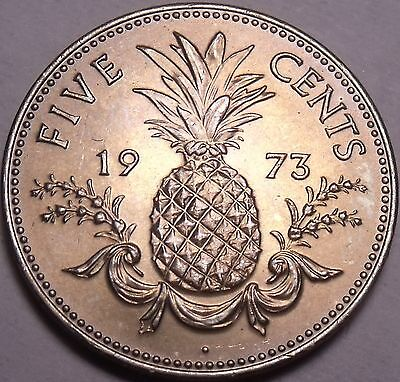 Gem Unc Bahamas 1973 5 Cents~The Commonwealth Variety~Pineapple~Free Shipping