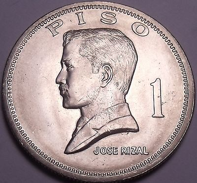Huge Gem Unc Philippines 1972 Piso~1st Year Ever~Jose Rizal~Free Shipping