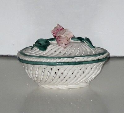 Rare Beautiful Vintage Capodimonte laced Dish A Spaghetto w. Lid Roses Italy