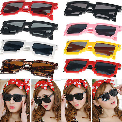 New Retro Trendy Cool Pixel 8 Bit Sun Glasses Pixelated Style Square Sunglasses