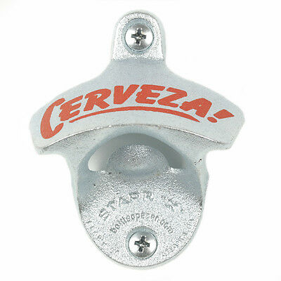 """Cerveza"" new wall mounted beer bottle opener bar decor with screws"