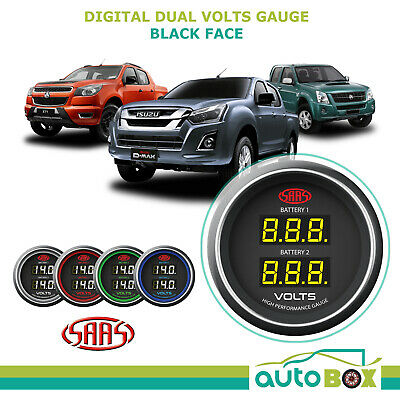 SAAS Dual Volts Gauge Black Face Dual Battery 4WD for D-Max Colorado Rodeo