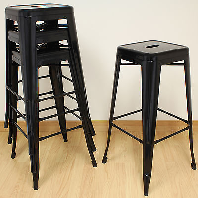 Hartleys Black Metal High Stools Industrial Breakfast Bar/Cafe/Bistro - Set of 4