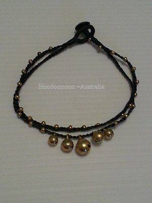 Handmade Hippy Jingle Bell Anklet Bracelet - Black
