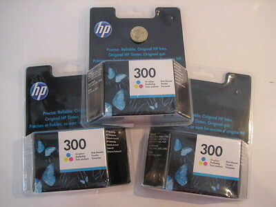 3 x  BOXED SEALED  HP 300 TRI-COLOUR PRINTER INK PACKS