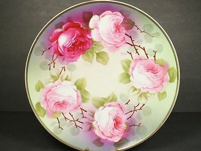 O&EG Royal Austria Plate Hand Painted Roses Artist Signed George Free Shipping