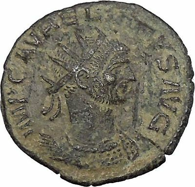 AURELIAN receiving wreath from woman  275AD Rare Ancient Roman Coin i46809