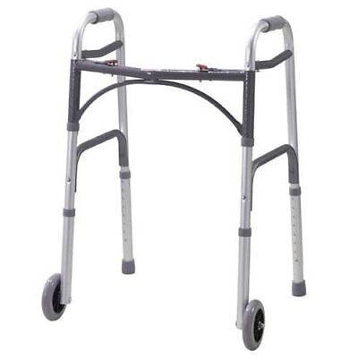 Drive Medical Deluxe Folding Walker 10210-4, 350lb Capacity, 5 Inch Wheels *NEW*
