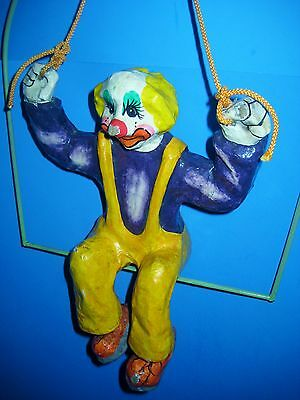 Clown Vintage Papier Mache Colorful Hanging Decor Acrobat On Trapeze 17 Inch