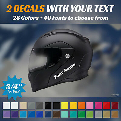 """2 Custom 3/4"""" Text Decals - Your Name - For Snowmobile Helmet - 2 Stickers 0.75"""""""