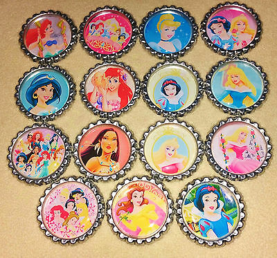 "SET OF 15 ""PRINCESS"" inspired FLAT BOTTLECAPS for hairbows & scrapbook"