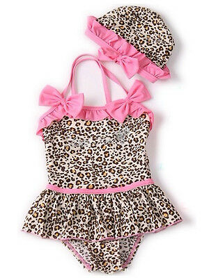 2PC Kids Toddler Girls Bikini Swimwear Leopard  Swimsuit Baby Swim Suits 01016