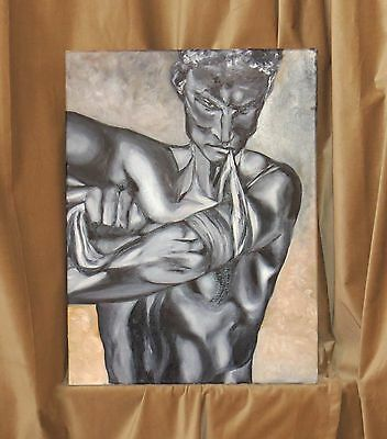 """Original painting by artist, Oil on Canvas, size 1 1/4"""" 2000-Now, Medium"""