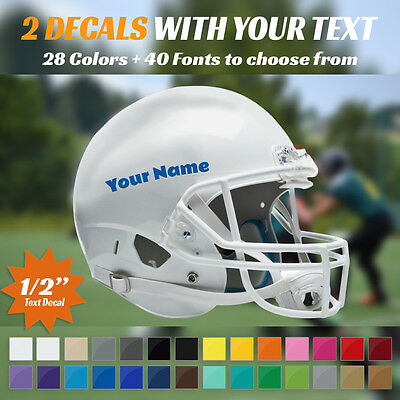 "2 Custom 1/2"" Text Decals - Your Name - For Football Helmet - 2 Stickers 0.5"""