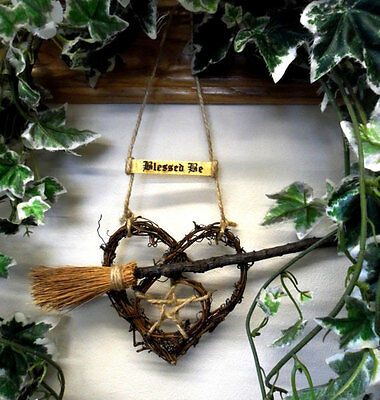 Handmade Pagan Wiccan Valentine Besom & Pentacle Heart.Witch Kitchen Handfasting
