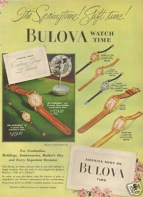 1940's vintage BULOVA Spring Gift JEWELRY Jeweler Gold GODDESS Of TIME Art Ad