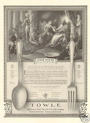 1920s antique TOWLE Silver QUEEN Sheba KING Solomon SILVERWARE Fork Spoon AD