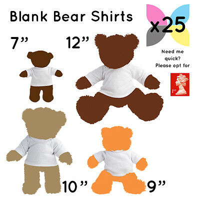 25 Blank White Teddy Soft Toy T Shirts For Sublimation / Transfer Wholesale Bulk