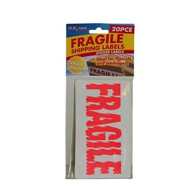 20pce Fluro Orange Fragile Sticker, Great for Parcels and Packaging, Value Pack