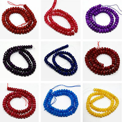 75pcs/strand Dyed White Jade Bead Strands Faceted Abacus Necklace DIY Finding