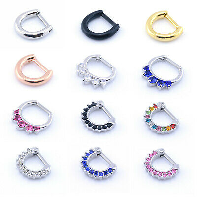 Septum Clicker Hinged Segment Nose Rings CZ Gem or Plain Nose Piercing 316 Steel