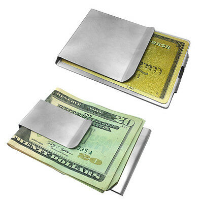Stainless Steel Money Clip and Credit Card Holder Two Sizes