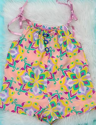 VTG hand made in USA baby girl 18M tie shoulder floral bubble romper playsuit