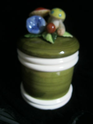 LARGE  DECORATIVE CERAMIC JAR WITH COLORFUL MUSHROOMS ON TOP OF LID