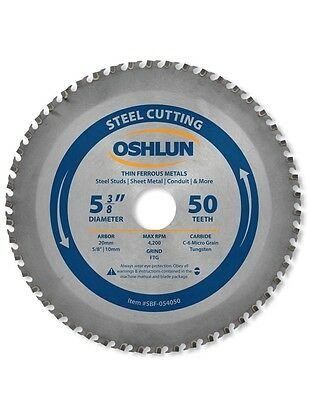 """Oshlun SBF-054050 5-3/8"""" x 50T Saw Blade w/20mm Arbor (5/8"""" and 10mm Bushings)"""