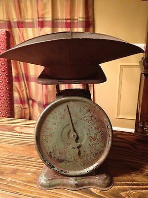 Wow! Vintage Antique Primitive Green Kitchen Scale With Bowl