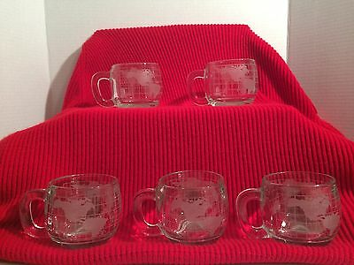 Nescafe World Globe Etched Coffee Cups-Set Of 5-Vintage 1970's